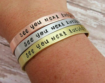 See You Next Tuesday Bracelet - Inappropriate Jewelry - Gift For Best Friend - Adjustable Cuff