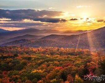 "Blue Ridge Parkway Photo Print | ""Beacon Heights Sunset"" | North Carolina Wall Art - Autumn Blue Ridge Photo - Sunset Blue Ridge Print"
