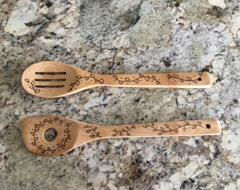 Set of Two Wood Burned Kitchen Utensils- Design on both sides