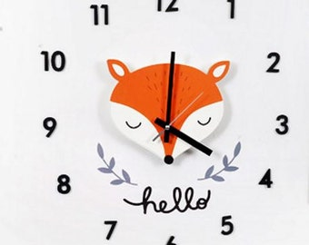 fox clock/diy kit fox decal wall clock/baby wall clock/kids wall clock/wall decor clock/clock wall decor/nursery wall decor/cute decal wall