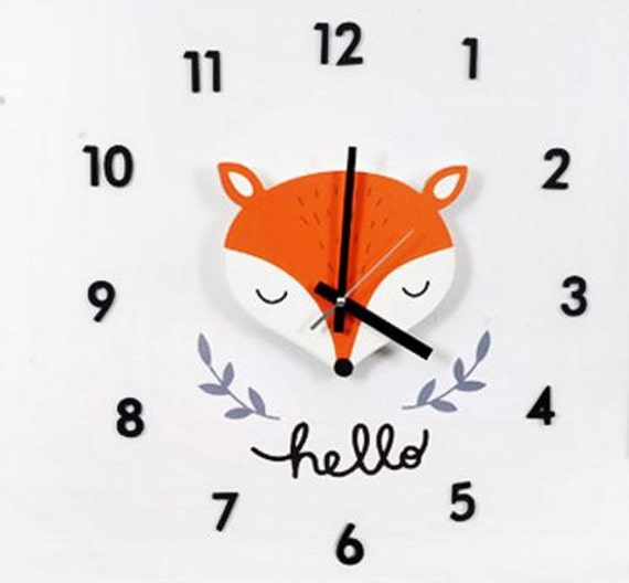 fox clock/diy kit fox decal wall clock/baby wall clock/kids