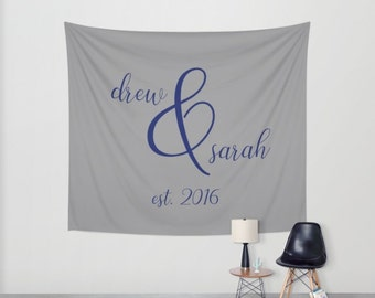 Personalized Wedding Tapestry, Couples Name Sign, Custom Tapestry Wall Hanging, Custom Wedding Colors, Newlywed Gift for Bride