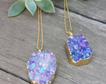 Rainbow Titanium Druzy Necklace
