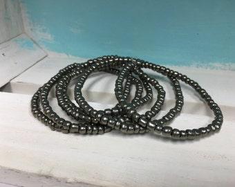 Grey Seed Bead Bracelets