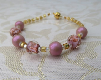 Pink Murano glass and pink glass pearl bracelet