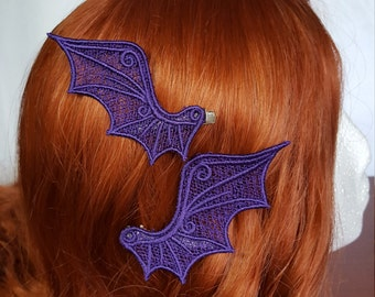 Embroidered Lace Dragon Wing Hair Clips Any Color