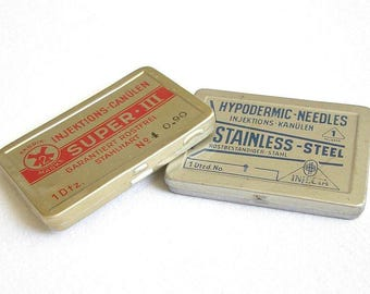 Vintage German Hypodermic Needles INJECTA and SUPER III. Vintage German Hypodermic Needles. Set of 2 Hypodermic Needles in Tin Box