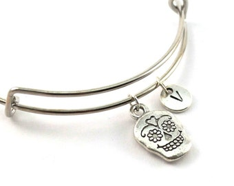SUGAR SKULL bangle, silver tone sugar skull bracelet, Calaver charm, initial bracelet, adjustable bangle, personalized jewelry, gift for her