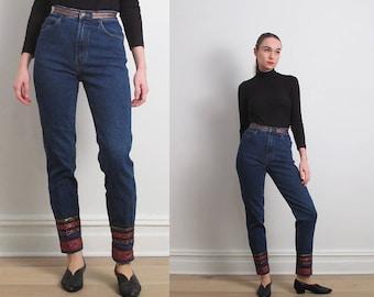 90s Embellished Blue Skinny Jeans / XS