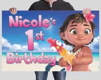 BANNER - Baby Moana Birthday Banner - Party Banner