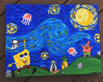 Spongebob Squarepant's Starry Night/ Spongebob Painting/ Spongebob and Patrick/ Spongebob Jellyfishing/ Small Acrylic Painting/ Wall Decor