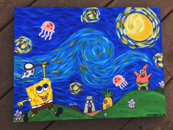 Spongebob Squarepant\'s Starry Night/ Spongebob Painting/