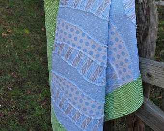 Handmade Baby Blue Wavey Quilt