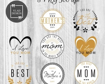 8 PNG Gold Mother's Day badges Mother's Day labels DIY Best mom badges Mother's Day Phrases Happy mother's day stickers Round labels