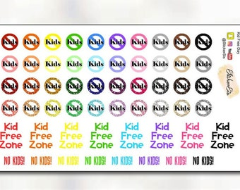 Kid Free Zone Planner Stickers