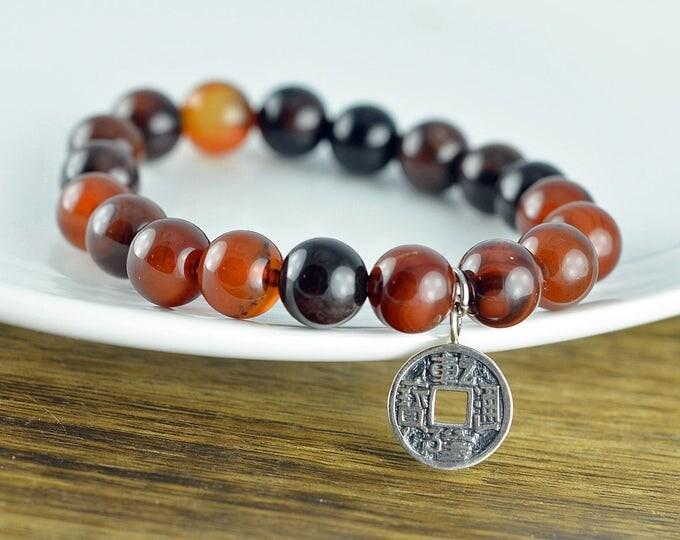 Mens Beaded Bracelet - Mens Bracelet - Mens Charm Bracelet - Lucky Charm Bracelet - Men Good Luck Jewelry - Mens Gift - Boyfriend Gift