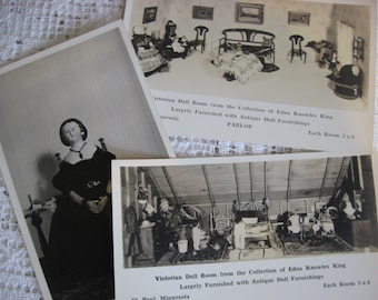 Vintage Post Cards,Photo Cards,Vintage Antique Dolls,Dollhouse Photo,Edna Knowles King,Black and White