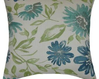 Sunbrella Violetta Baltic Indoor/Outdoor Floral Pillow