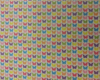 Butterfly Multi Fabric 100% Cotton Material By Metre Colourful Animals Patchwork Cushions Bags Bunting Nursery Curtains