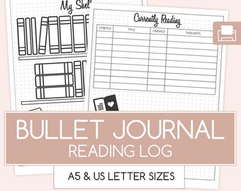 Reading Journal,Printable Bullet Journal, Bujo Inserts, Bullet Journal A5, Bujo Spread, Planner Refill Page, A5 Planner Refill,Reading Log