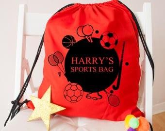 Personalised Kids Sports Activity Drawstring Bag- Back To School Bag-Kids Sports Bag-Accessory Bag - Football Bag - Swimming Bag