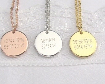Coordinate Disc Necklace, Coordinates Necklace, Latitude, Longitude, Location Necklace, Personalized Coordinates Disc Necklace, GPS Location