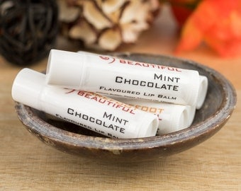 Lip Balm - Vegan Mint Chocolate Flavoured - Natural Oils and Butters with Vitamin E for Dry Chapped Lips - Vegan Beauty - Made in Australia