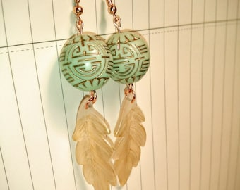 Lop call rose gold white leaves and green beading