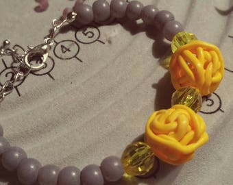 Yellow gray bracelet
