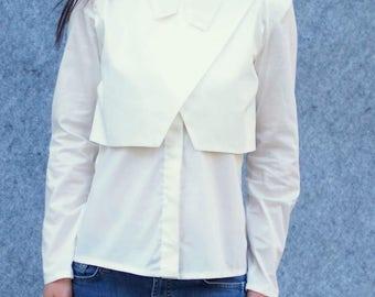 EXTRAVAGANT poplin shirt/white cotton shirt/elegant white poplin shirt/casual poplin shirt