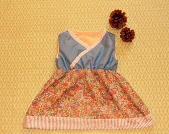 Blue Birds Criss Cross Dress/ Cotton Dress/Baby Blue Dress: 6-12 Months/ 12-18 Months/ 2T