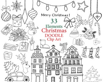 "Christmas doodle clipart: ""CHRISTMAS CLIP ART""  Christmas Doodles clipart Greetings clipart Hand Drawn Clipart Xmas clipart Lineart Snowman"