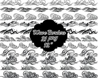 Water Wave Border Clipart BLACK BORDER CLIPART Nautical ClipartWave Illustration