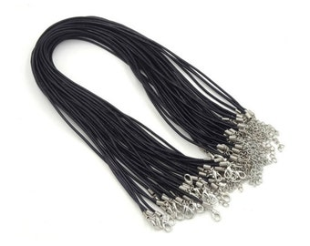 wholesale 100pieces 2.0mm Black & Brown genuine necklace cords--for length 12-14inches