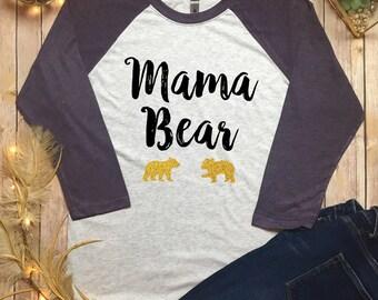 Mommy Bear Baby Bear Shirt - Mama Bear Baseball Tee - Mama Bear Raglan - Momma Bear Shirt - Mommy Bear Baseball Shirt- Mommy Bear tee