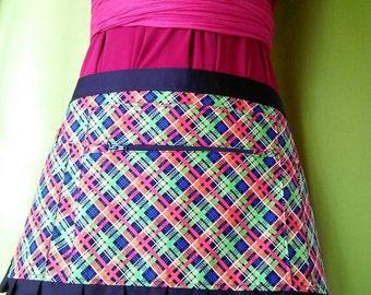 Discounted-Punk utility apron-Halloween apron-Waitress apron-Vendor apron-Zipper apron-Plaid apron- Half apron