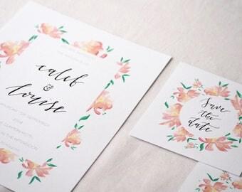 Floral Modern Calligraphy Wedding Invitation Suite
