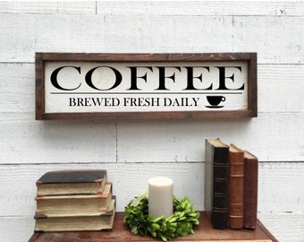Coffee, brewed fresh daily, vintage kitchen Decor