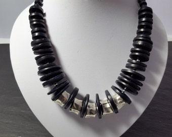 Necklace, wooden Necklace dark blue