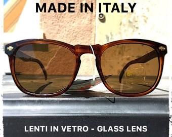 Occhiali da sole uomo wayfarer marrone lenti in vetro sunglasses man frame brown honey glass lens vintage hipster retrò Made in Italy