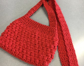 Crochet Handbag Red Cotton Yarn Crossbody Purse