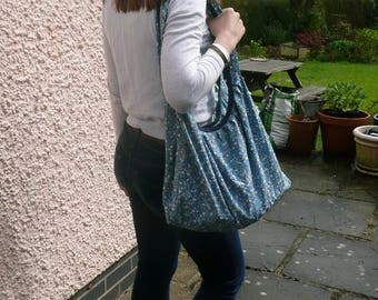 Blue bead print Banana Bag, Handbag, Shoulder bag