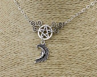 Pagan/Wiccan Triskele Pentacle Moon Necklace. Celtic, Witch, Goddess,