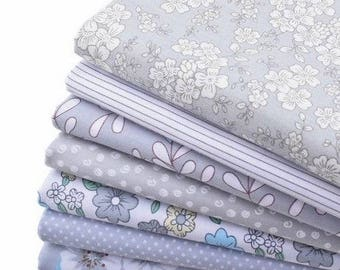 8 coupons fabric patchwork Cotton sewing 40 x 50 cm grey 240217 tones