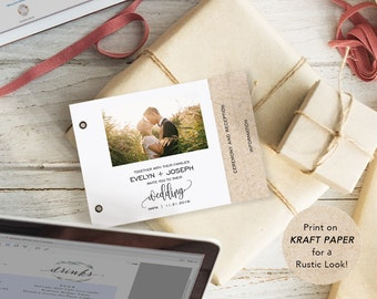 Booklet Invitation Set, Printable Wedding Invitation Template, DIY Wedding Cards, Editable PDF, Instant Download Photo Invitation #SPP013wib