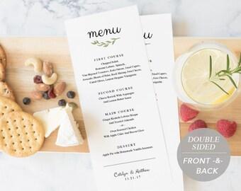 Wedding Menu Template, Printable Menu, Wedding Dinner Menu, DIY Menu Card, Instant Download, Editable PDF, Rustic Watercolor Branch Wreath