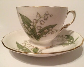 Vintage Footed Tea Cup - Lillies of the Valley, Royal Vale Ridgeway