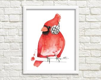 Poster Art 8 x 10 | Cardinal bird illustration | Mixed watercolor illustration | Red Cardinal | Birds of Quebec | Drawing ornithologist