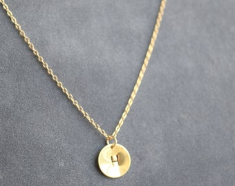 Customized  gold circle necklace, initial necklace, small disc necklace , bridesmaid gift, gift necklace, G1