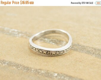 "On Sale Genuine Diamond Wavy ""Always"" Anniversary Band Ring Size 8 Sterling Silver 2.5g Vintage Estate"